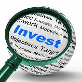 Invest Magnifier Definition Shows Put Money In Real State Or Inv