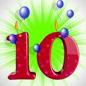 Number Ten Party Mean Numeral Candles Or Celebration Candles