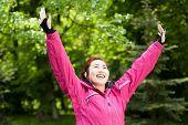 Happy Mongolian Woman Likes Sport