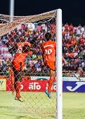 Sisaket Thailand-may 28: Godwin Antwi Of Sisaket Fc. (no. 25, Orange) In Action During Thai Premier