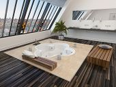 Modern bathroom interior with a sunken spa bath in a parquet floor and panoramic sloping view window