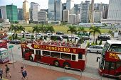 HONGKONG -SEPTEMBER 2 2013: Citybus from Star Ferry Central to lower Peak Tram Terminus. Star Ferry