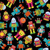 stock photo of robot  - Seamless Tileable Vector Background Pattern with Cute Robots - JPG