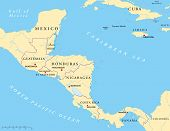 picture of gulf mexico  - Political map of Central America with capitals - JPG