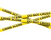 stock photo of crime scene  - crime scene tape isolated on a white background - JPG