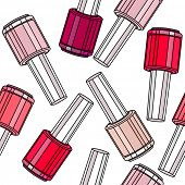 Stylized seamless pattern with nail varnishes.