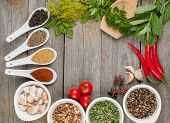 foto of bay leaf  - Colorful herbs and spices selection - JPG