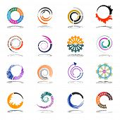 Spiral and rotation design elements. Abstract icons set. Vector art.