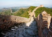 View Of Evening Great Wall Of China Located In Hebei Province