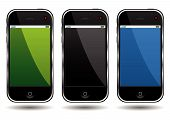 stock photo of cell  - Modern cell phones isolated over white background - JPG