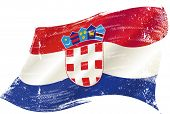 waving croatian grunge flag. A waving flag of Croatia with a grunge texture