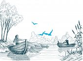 stock photo of fishermen  - Fisherman in boat sketch - JPG