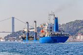 Transport ship sails Bosphorus