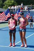 US Open 2013 girls junior champion Ana Konjuh from Croatia  right and runner up Tornado Alicia Black