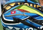 Professional tennis player Stanislas Wawrinka customized Yonex tennis bag at US Open 2013