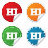 Hindi language sign icon. HI India translation