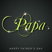 Greeting card design with stylish glossy green text Papa on black background for Happy Father's Day