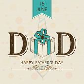 Beautiful greeting card design with stylish text Dad and gift box on grungy brown background for cel