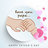 Beautiful sticky design with child hand holding his father hand on hearts shape decorated blue background.