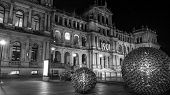 Brisbane Treasury Casino by night -black and white