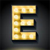 Realistic dark lamp alphabet for light board. Vector illustration of bulb lamp letter e