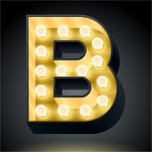 Realistic dark lamp alphabet for light board. Vector illustration of bulb lamp letter b