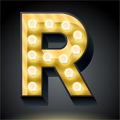 Realistic dark lamp alphabet for light board. Vector illustration of bulb lamp letter r