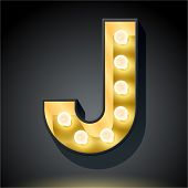 Realistic dark lamp alphabet for light board. Vector illustration of bulb lamp letter j