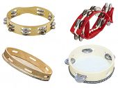 The image of tambourines isolated under the white background