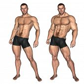 Concept or conceptual 3D strong young male man bodybuilder before and after isolated on white backgr