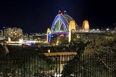 Sydney Harbour Bridge in colour during Vivid Festival