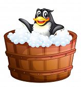 Illustration of a penguin in the bathtub on a white background