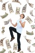 foto of dancing rain  - Happy man enjoying rain of money - JPG