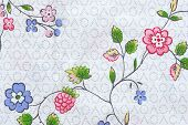 Abstract Flowers On Textile Fabric