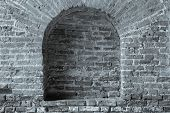 Old Brick Wall Silvery Color With A Arch In Niche