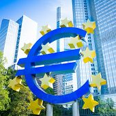 FRANKFURT, GERMANY - February 12 : Euro Sign. European Central Bank (ECB) is the central bank for the euro and administers the monetary policy of the Eurozone. February 12, 2014 in Frankfurt, Germany.