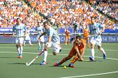 THE HAGUE, NETHERLANDS - JUNE 1: Dutch player Verga is about to shoot the bal towards the goal during the Hockey World Cup in the match between The Netherlands and Argentina (men). NED beats ARG 3-0