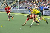 THE HAGUE, NETHERLANDS - JUNE 2: Liam de Young (AUS) and Marc Salles (ESP) struggle to reach the bal