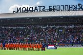 THE HAGUE, NETHERLANDS - JUNE 1: The Dutch hockey team is lined up for the anthem during the Hockey World Cup 2014 in the kyocera stadium. (men)