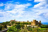 Tuscany, Montalcino Medieval Village, Fortress And Church. Siena, Val D Orcia, Italy