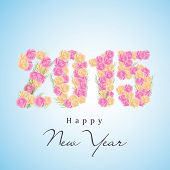 Happy New Year celebration poster or greeting card decorated with text 2015 made by rose flowers on blue background.