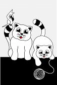 cartoon animals - two cats and parrot