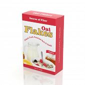3D Oat Flakes paper package isolated on white