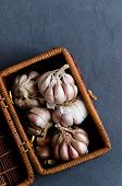 Cloves Of Garlic In A Basket