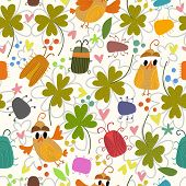 St. Patrick`s Day Background.lucky Seamless Pattern With Clover, Birds And Bugs.this Card Brings Goo