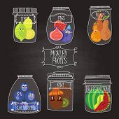 Pickled Fruits  In Vector Set -  Limes, Figs, Pears, Blueberries, Watermelon, Kiwi.