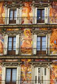 Plaza Mayor Walls Cityscape Madrid Spain