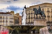 Puerta Del Sol Gateway Of The Sun Plaza Square Fountain King Carlos Iii Equestrian Statue Madrid Spa