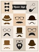 Hipster style mustaches hat vector set collection