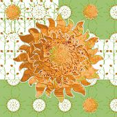 picture of idealistic  - Idealistic collage vector picture with the sun grass strawberries fabric patterns - JPG